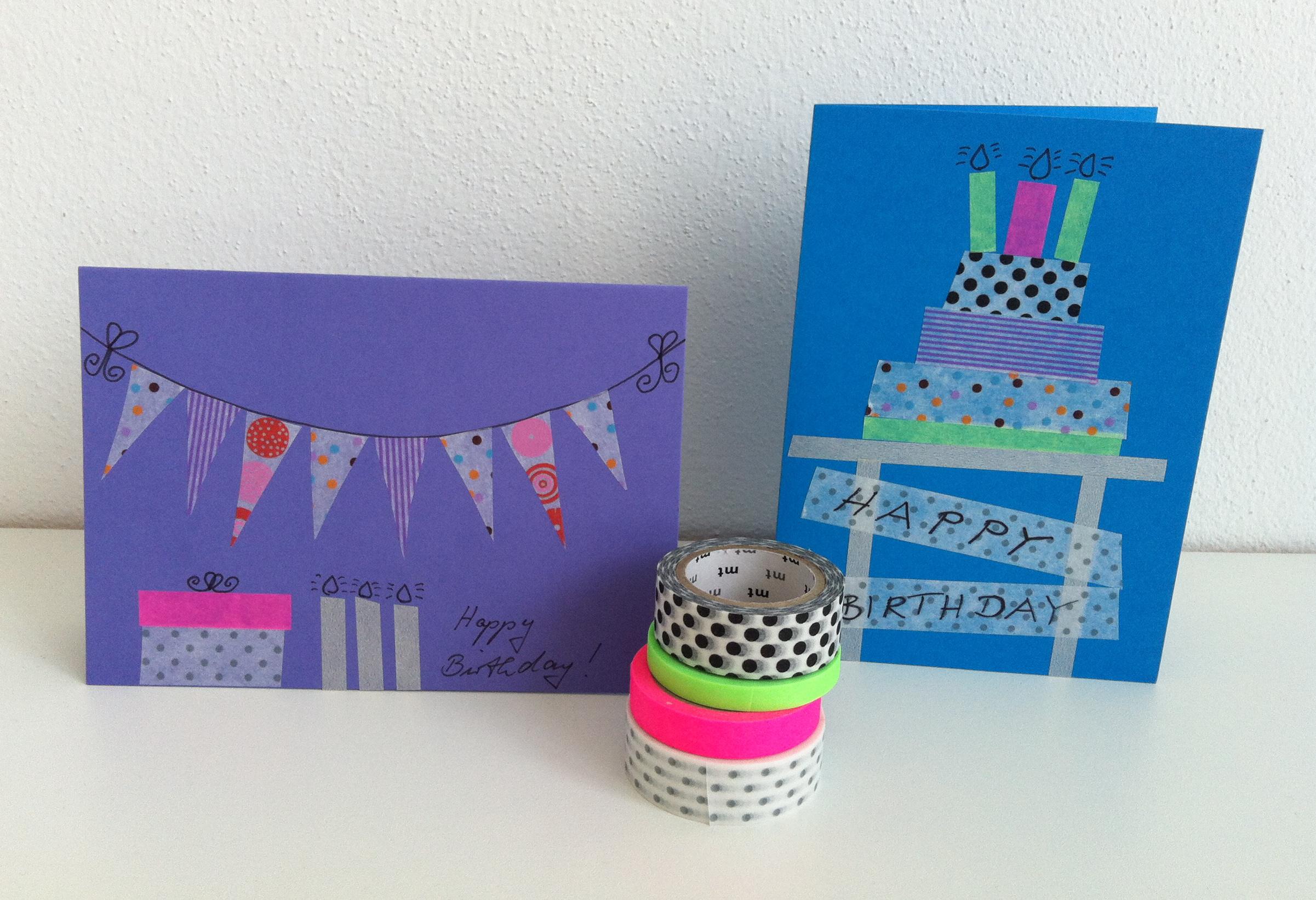 Happy Birthday Karte Für Frauen.Happy Birthday Mit Masking Tape Herr Und Frau Krauss Shop Und Blog